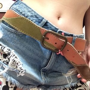 Lucky Brand Accessories - LUCKY BRAND Patchwork Leather Belt Earth Tones
